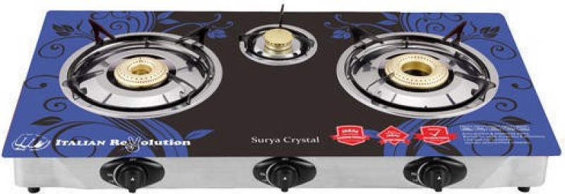 SURYA CRYSTAL Glass, Steel Automatic Gas Stove(3 Burners)