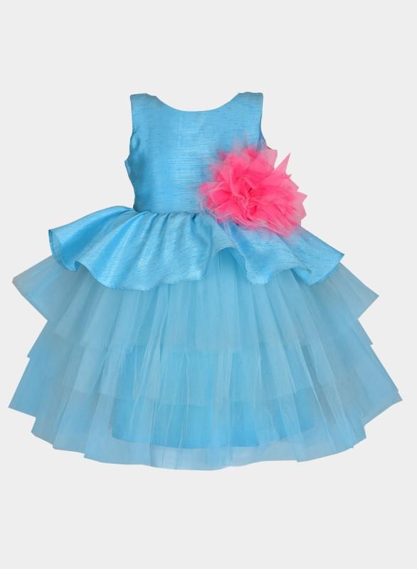 A Little Fable Girls Midi/Knee Length Casual Dress(Blue, Sleeveless)