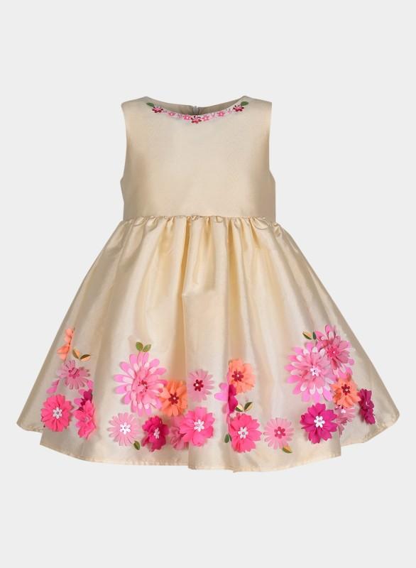 A Little Fable Girls Midi/Knee Length Casual Dress(Multicolor, Sleeveless)