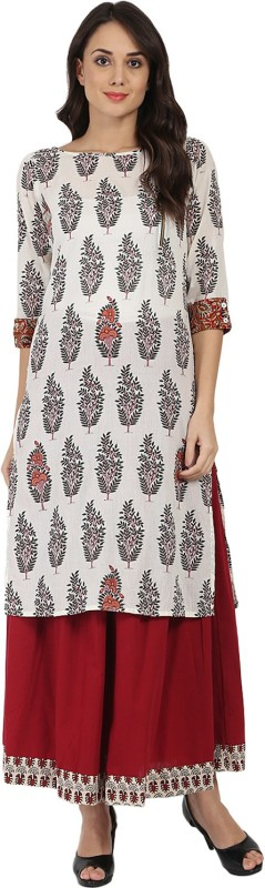 Nayo Women Printed, Block Print Straight Kurta(Multicolor)