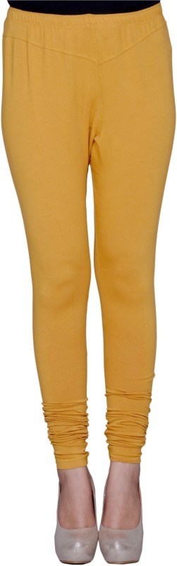 NENCY Churidar  Legging(Yellow, Solid)