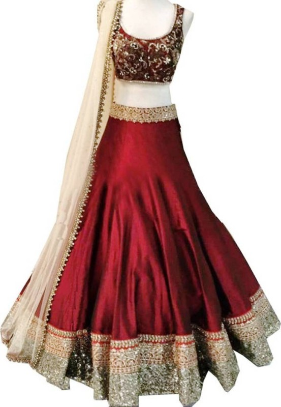 Shree Krishna Fashion Embroidered Semi Stitched Lehenga, Choli and Dupatta Set(Maroon)