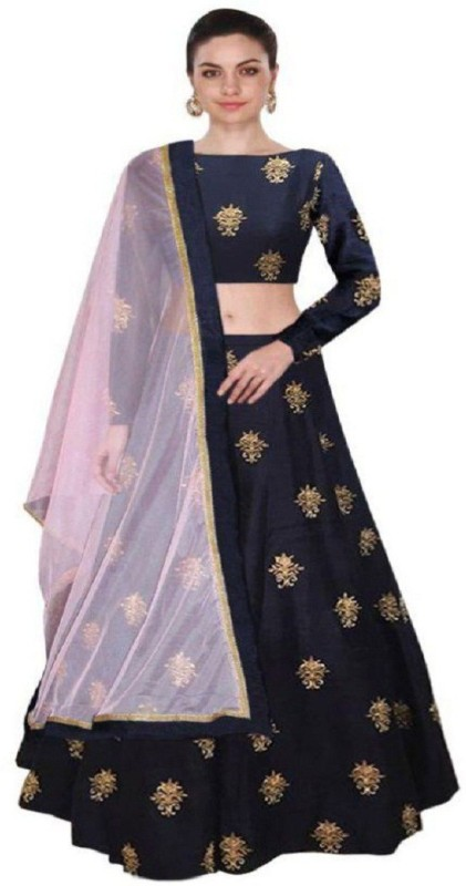 Pavitra Creation Embroidered Semi Stitched Lehenga, Choli and Dupatta Set(Dark Blue)