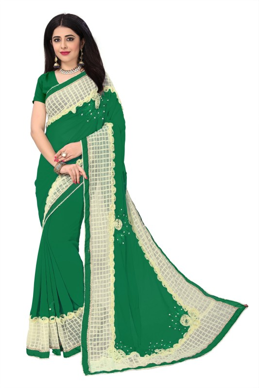 Active Self Design Fashion Heavy Georgette Saree(Green)