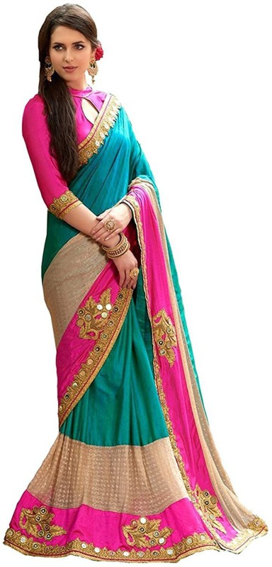 Active Embroidered Fashion Heavy Georgette Saree(Multicolor)