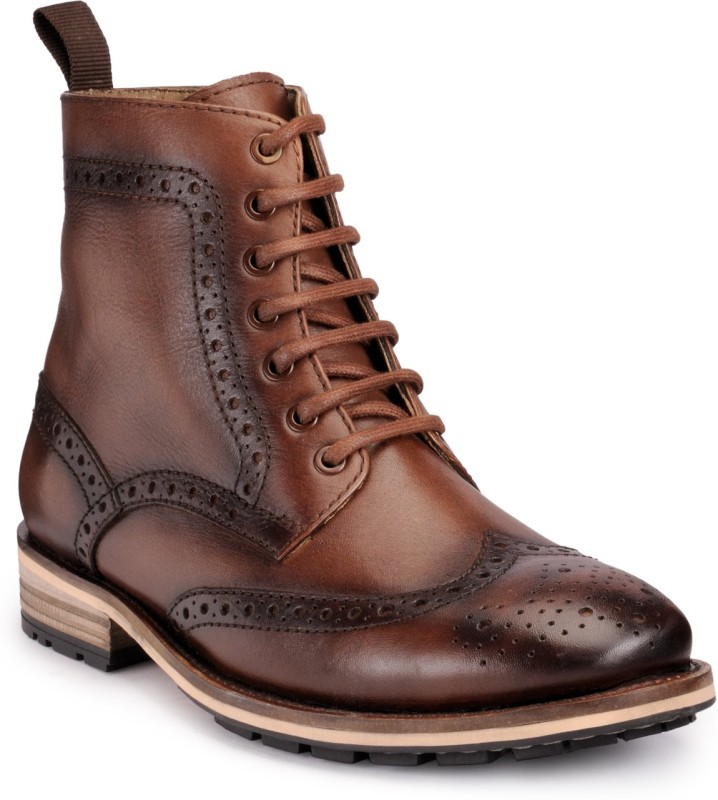 Teakwood leather shoes Boots For Men(Brown)
