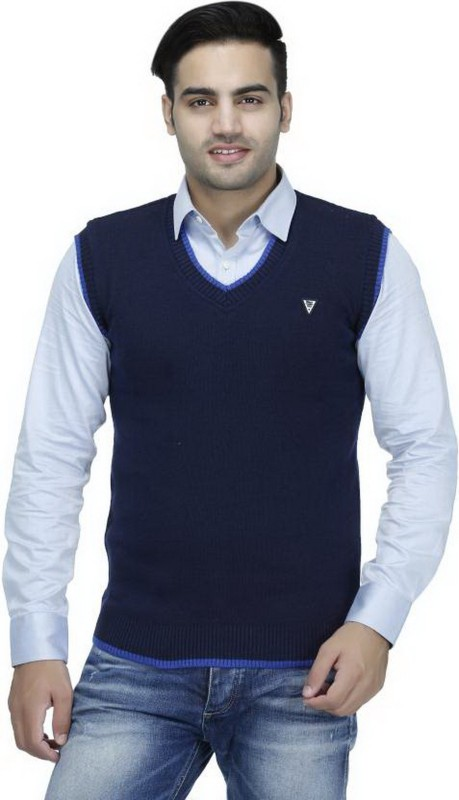 Elepants Solid V-neck Casual Men's Dark Blue Sweater