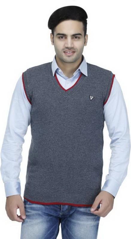 Elepants Solid V-neck Casual Men's Grey Sweater