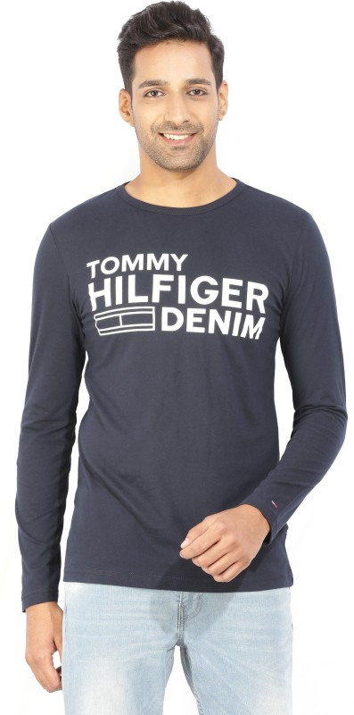 Tommy Hilfiger Printed Mens Round Neck Blue T-Shirt