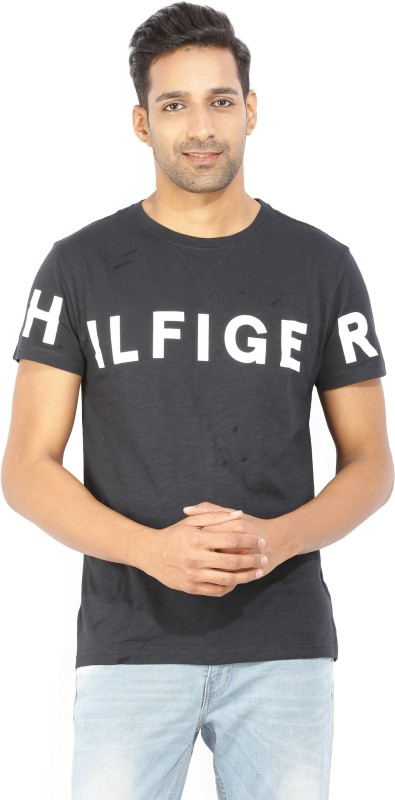 Tommy Hilfiger Typography Men Round Neck Black T-Shirt
