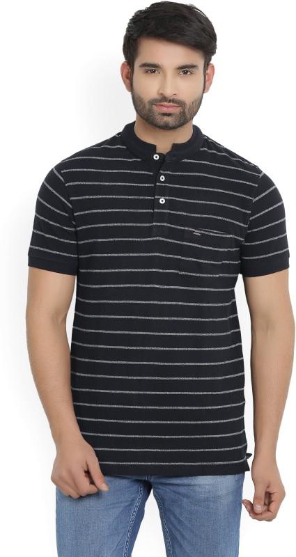 Indian Terrain Striped Mens Mandarin Collar Black T-Shirt