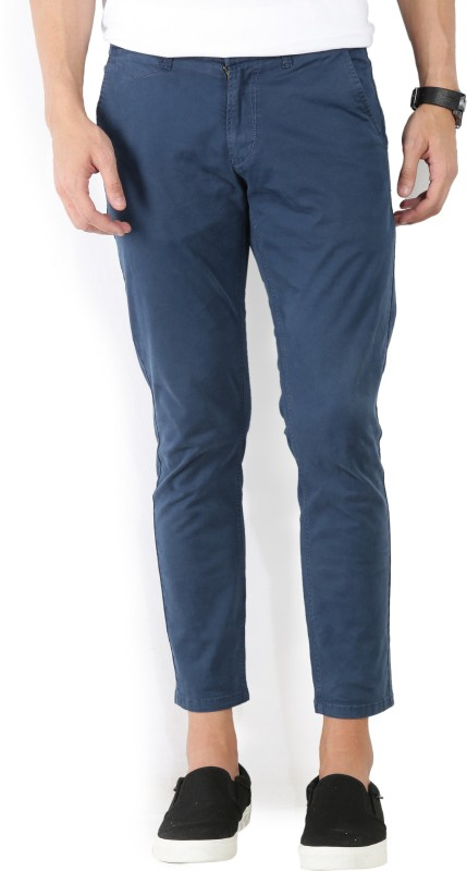 Spykar Slim Fit Men Blue Trousers