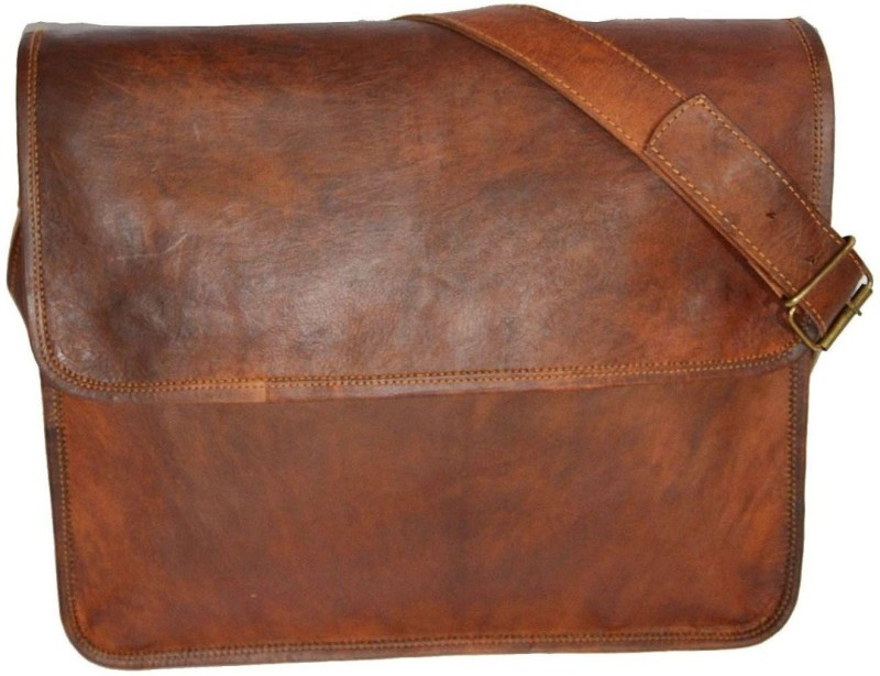 The Leather Bags House Laptop Briefcase Bag Small Briefcase - For Men & Women(Brown)