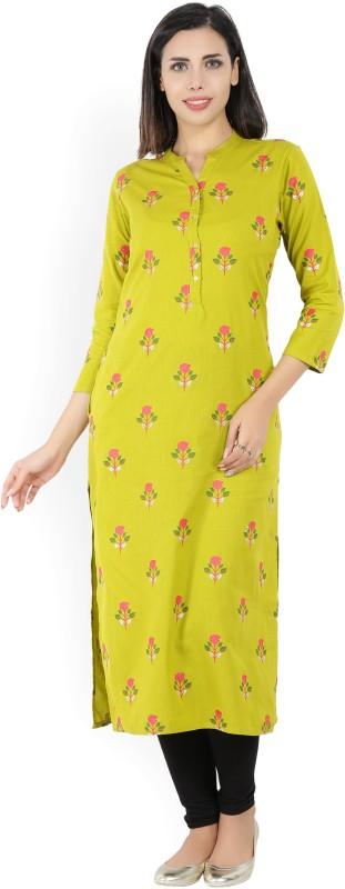Vishudh Printed Women's Straight Kurta(Green, Multicolor)