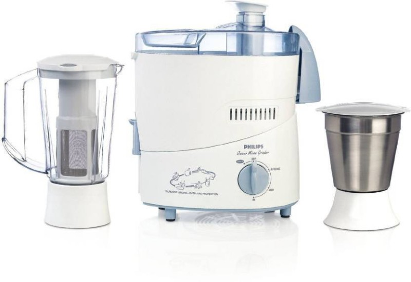 Bajaj Philips HL1631 1 Juicer Mixer Grinder(White with blue accents, 2 Jars)