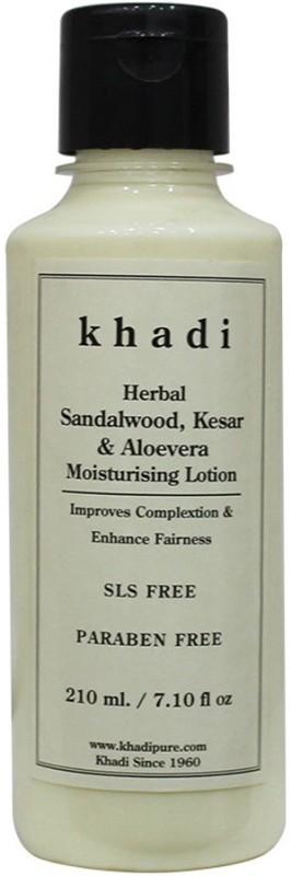 Khadi Herbal Sandalwood, Kesar & Aloevera Moisturising Lotion SLS-Paraben Free(210 ml)