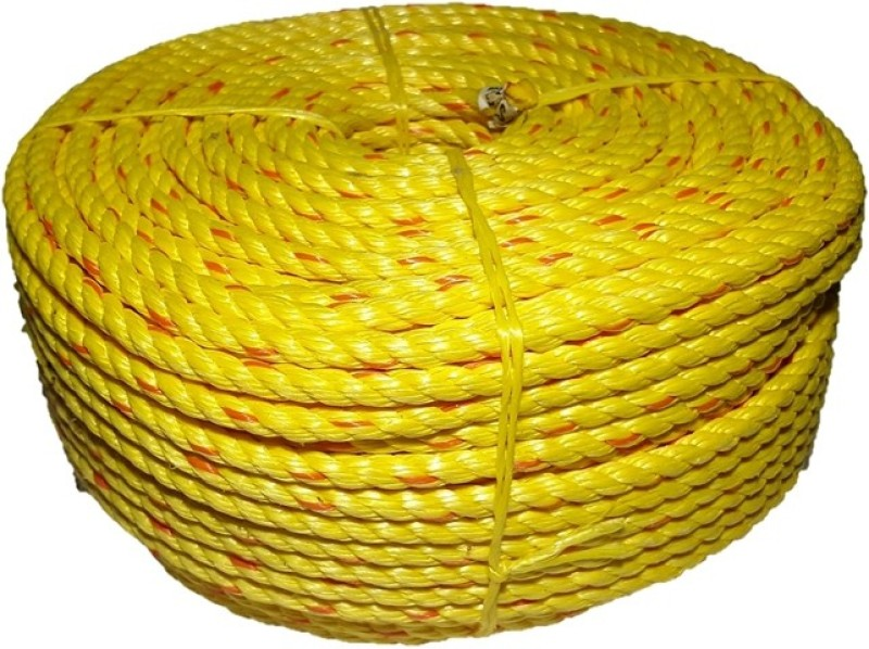 TUFROPES 10 MM/3 Strand/3T rope 110 Meter Yellow(Length: 110 m, Diameter: 10 mm)