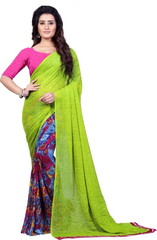 Kashvi Sarees Printed Fashion Faux Georgette Saree(Green)