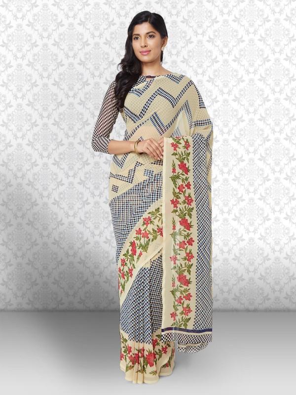 Divastri Floral Print Bollywood Georgette Saree(Multicolor)
