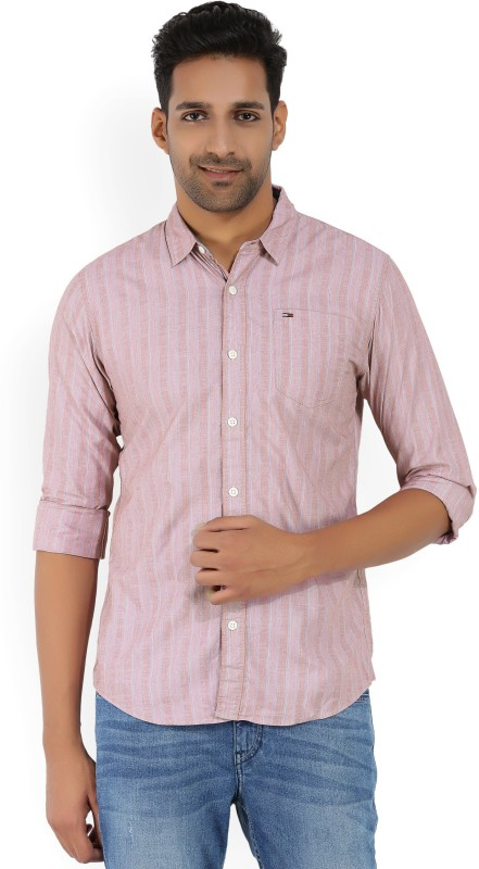 Tommy Hilfiger Mens Striped Casual Red Shirt