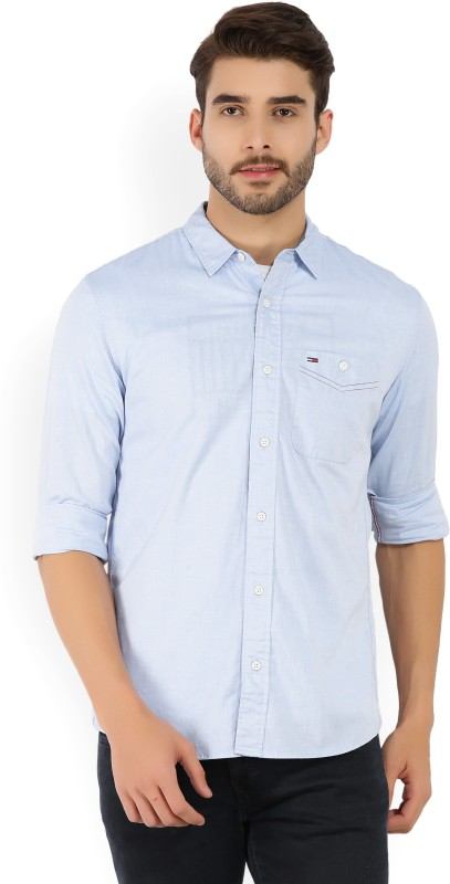 Tommy Hilfiger Mens Solid Casual Light Blue Shirt
