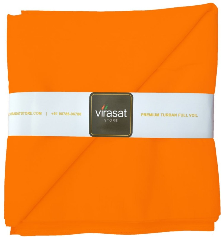 Virasat Store 5 Meter Orange Solid Dastar