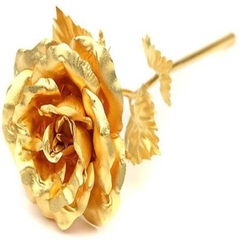 ShopAis ShopAis 24K Gold Rose with Gift Box and Carry Bag - Best Gift On Valentines Day, Rose Day With Gift Box Gold Rose Artificial Flower(7 inch, Pack of 1)