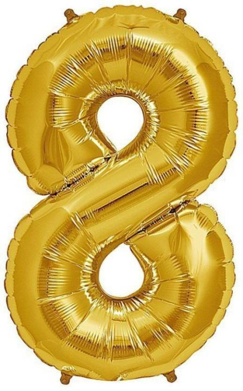 "Theme my party Solid Solid 14"" Number ""8"" Gold Super Shape Foil Balloon Balloon (Gold, Pack of 1) Balloon(Gold, Pack of 1)"