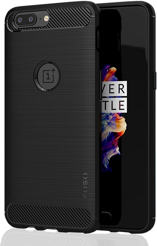 FOSO Back Cover for OnePlus 5(Black, Plastic)