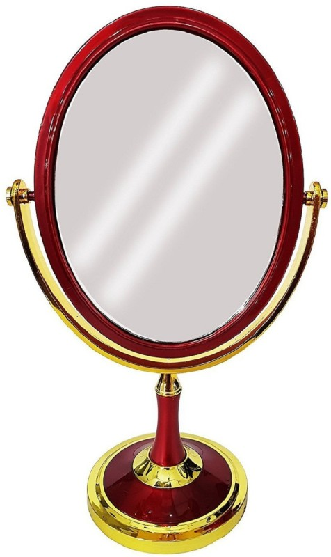 Confidence Golden Maroon Fancy Mirrors For Make Up And Home Decorations 7X Magnification Tabletop Shaving & Makeup Vanity Mirror Round Shaped Double-Sided Mirror (Normal + Zoom Image) Mirrors Living Room
