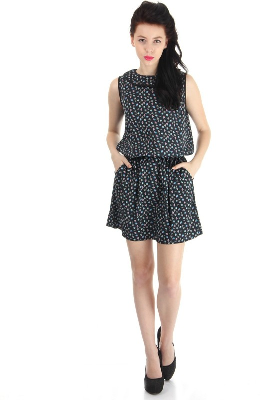 Pepe Jeans Women Fit and Flare Black Dress