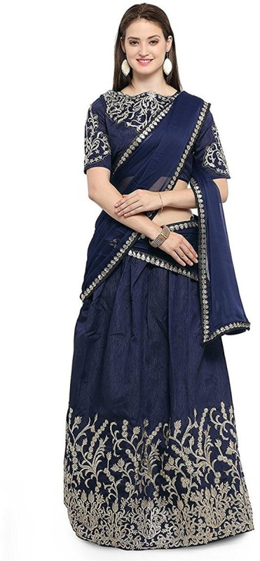 Clickedia Embroidered Lehenga, Choli and Dupatta Set(Blue)