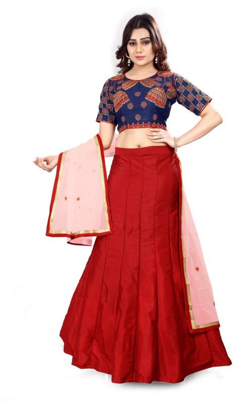 Fabcartz Self Design Lehenga Choli(Blue, Red)