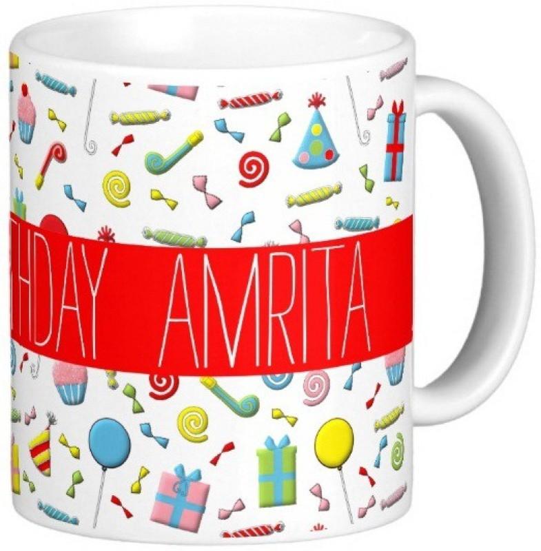 GNS Happy Birthday AMRITA Ceramic Mug(325 ml)