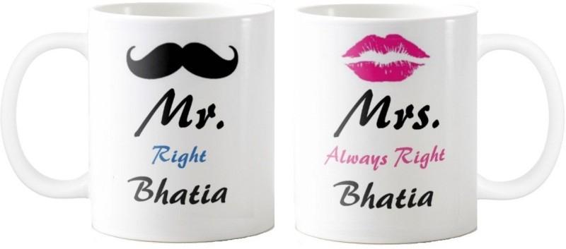 GNS Mrs. & Mr.Bhatia -Anniversary Love Valentine 02 Ceramic Mug(325 ml, Pack of 2)