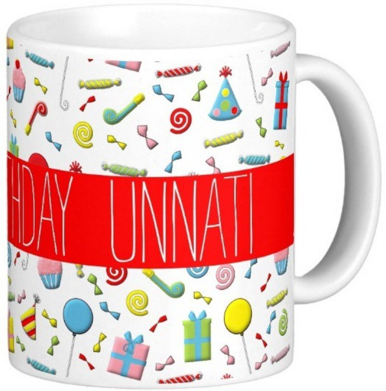 Exoctic Silver Happy Birthday UNNATI Ceramic Mug(300 ml)