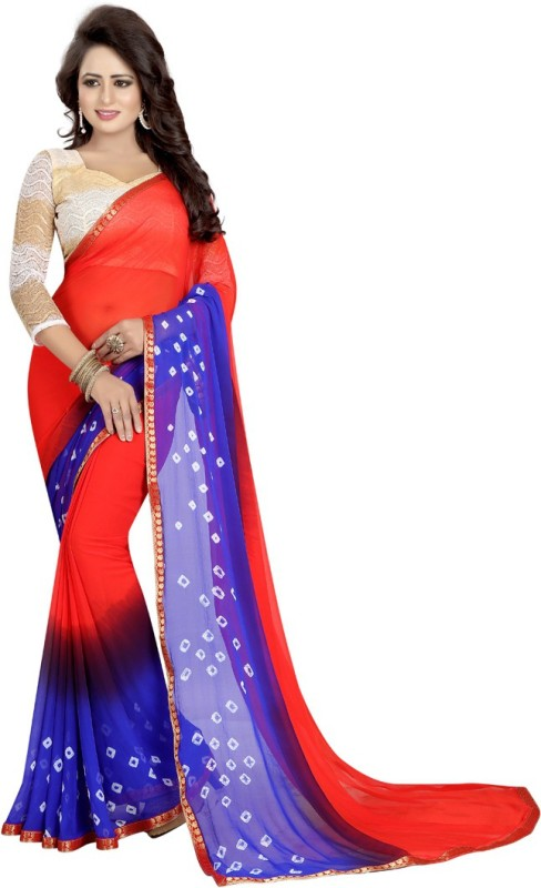 V J Fashion Printed Bandhani Chiffon Saree(Red)