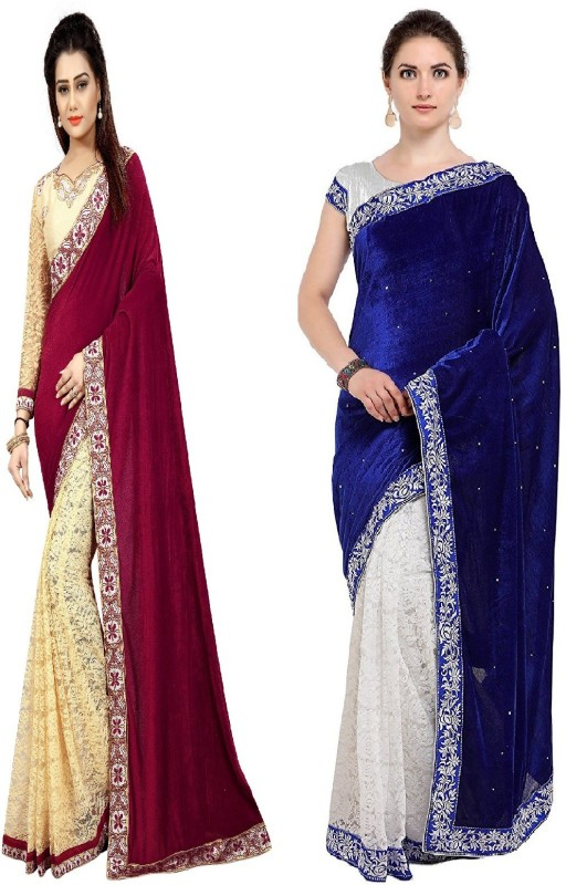dwitstyle Embroidered Bollywood Velvet, Brasso Saree(Pack of 2, Multicolor)