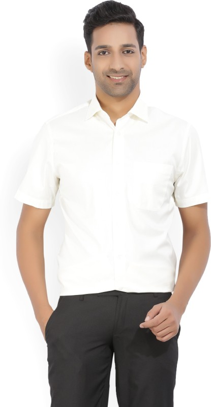 Louis Philippe Mens Solid Formal Beige Shirt