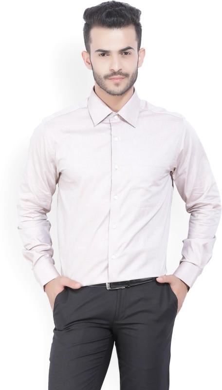 Peter England Mens Solid Formal Beige Shirt