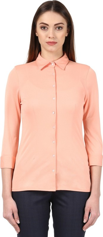 Park Avenue Women Solid Formal Beige Shirt