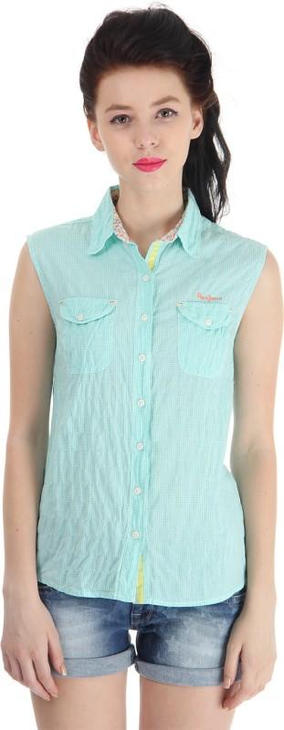 Pepe Jeans Women Checkered Casual Green Shirt