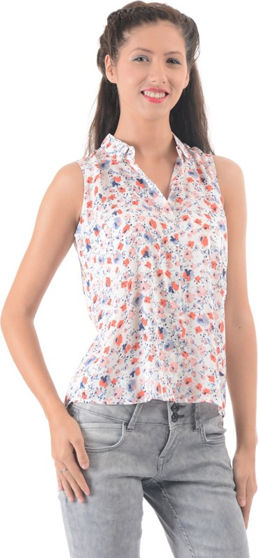Pepe Jeans Casual Sleeveless Floral Print Women White Top