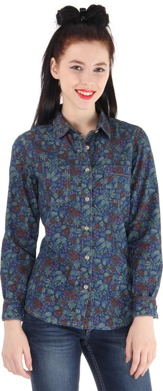 Pepe Jeans Women Floral Print Casual Blue Shirt