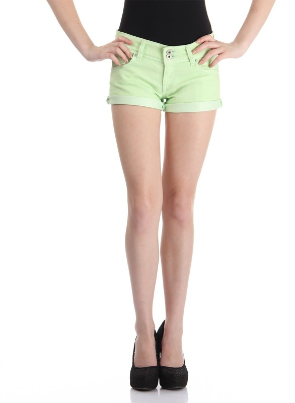Pepe Jeans Solid Women Green Basic Shorts