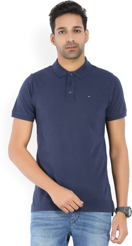 Tommy Hilfiger Solid Mens Polo Neck Blue T-Shirt