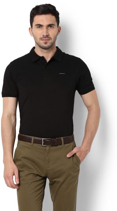 Van Heusen Solid Men Polo Neck Black T-Shirt