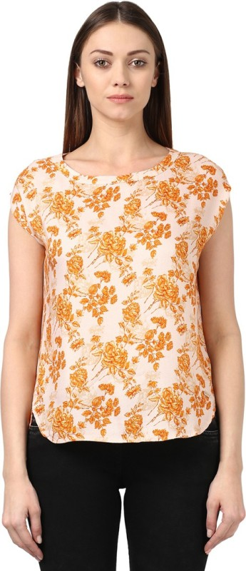 Park Avenue Casual Cap Sleeve Floral Print Womens Beige Top