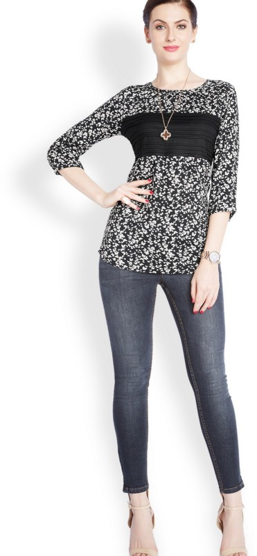 Park Avenue Casual 3/4th Sleeve Printed Womens Beige Top