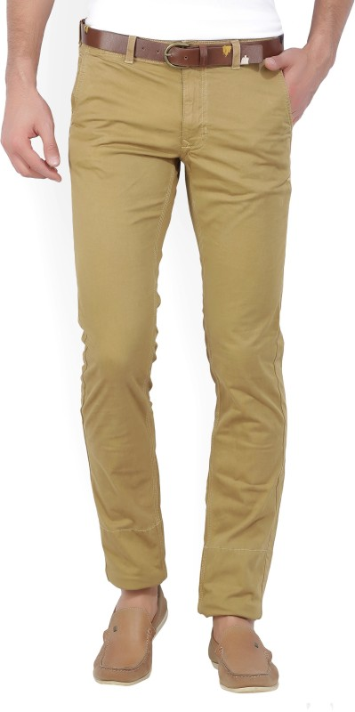 Indian Terrain Slim Fit Men Beige Trousers